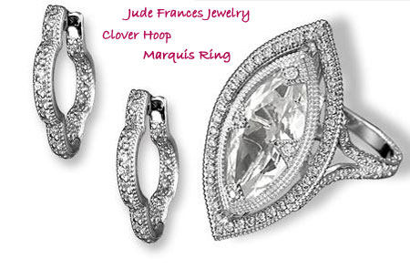 Jude Frances jewelry Marquis ring Clover hoop