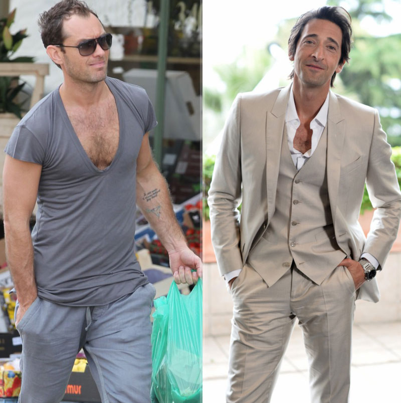 Jude Law Adrien Brody flaunt chest hair