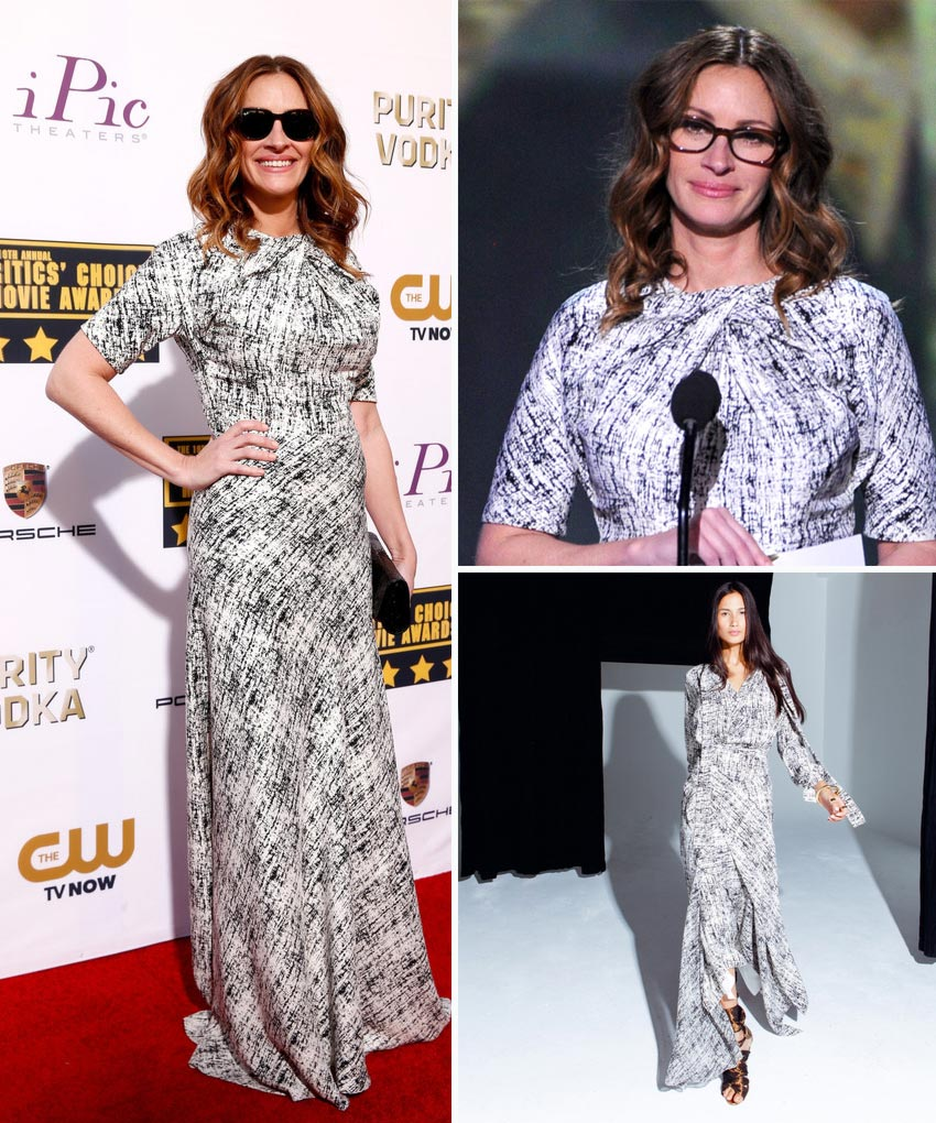 Julia Roberts Juan Carlos Obado dress 2014 Critics Choice Awards