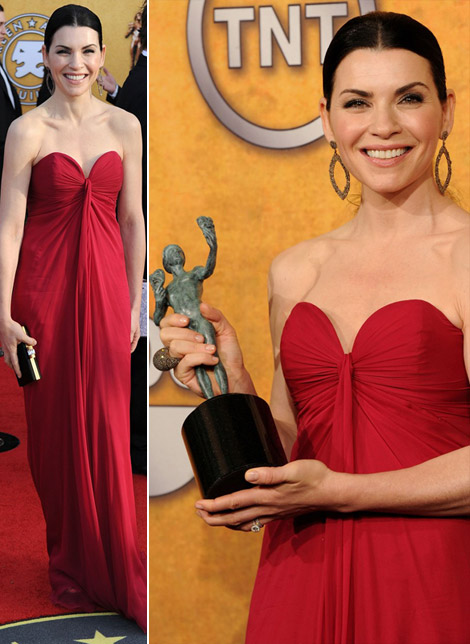 Julianna Margulies YSL Bordeaux dress 2011 SAG Awards