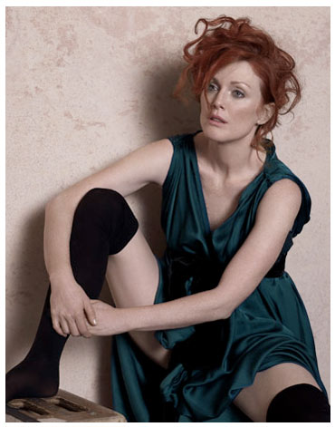 Julianne Moore Harper's Bazaar May 2008 by Peter Lindbergh Seated Woman with Bent Knee