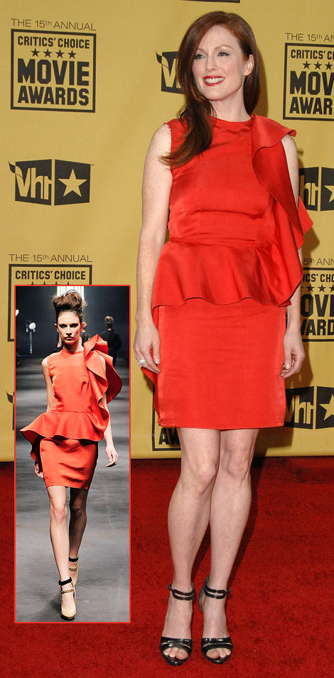 Julianne Moore Red Lanvin Dress Critics Choice Awards 2010