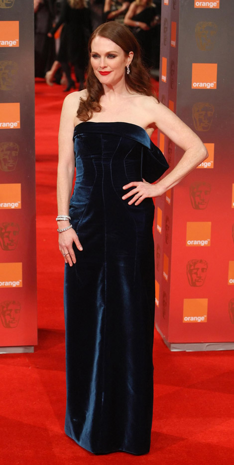 Julianne Moore Tom Ford Velvet blue dress 2011 Bafta Awards