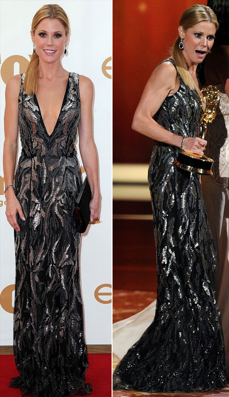 Julie Bowen heavy cleavage sequined Oscar de la Renta dress 2011 Emmys