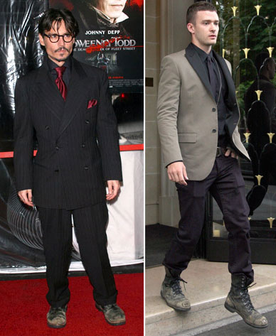 Justin Timberlake Worn Shoes vs Johnny Depp Worn Shoes