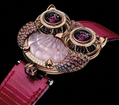 Jwlry Machine Boucheron MBF Owl wristwatch pink