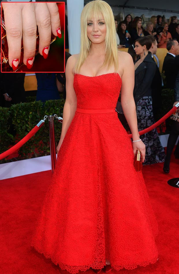 Kailey Cuoco red dress red hearts nails 2013 SAG Awards