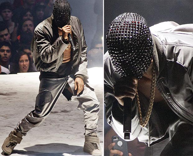 Kanye West concert torn pants face mask