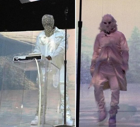 Kanye West strange white stage costumes
