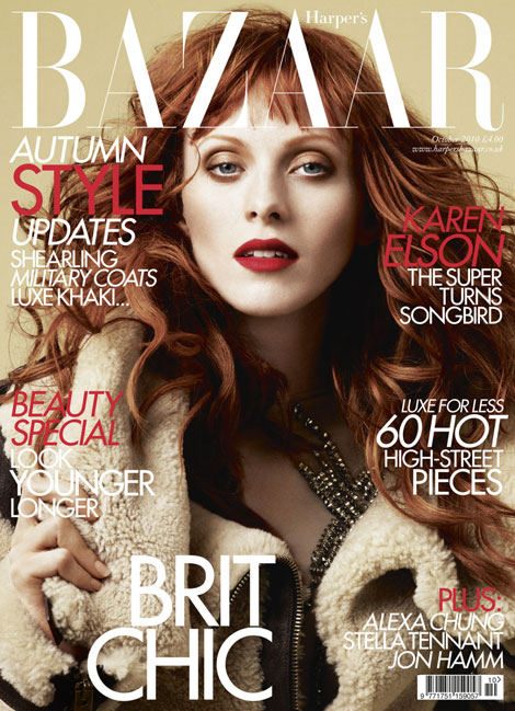 Karen Elson Harpers Bazaar UK October 2010 cover