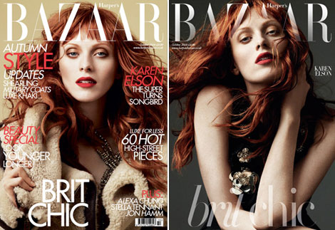 Karen Elson Harpers Bazaar UK October 2010 covers