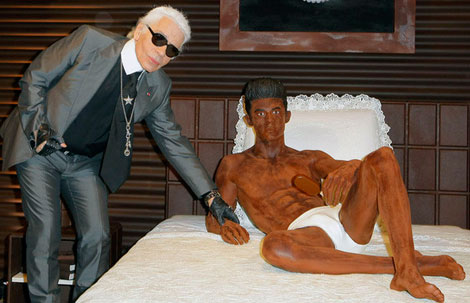 Karl Lagerfeld Not Behind Books Perfume. Doing Chocolate Sculpture Of Baptiste Giabiconi