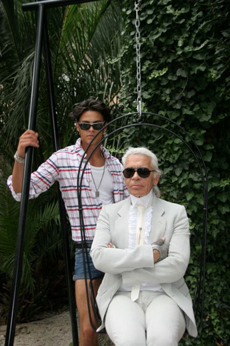 Karl Lagerfeld And Baptiste Giabiconi Do St Tropez