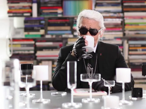 Karl Lagerfeld drinking diet Coke from Orrefors white glass
