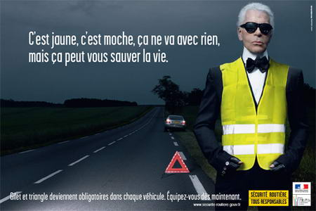 Karl Lagerfeld Road Security Safety Vest Campaign Securite Routiere