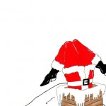 karl lagerfeld santa down the chimney