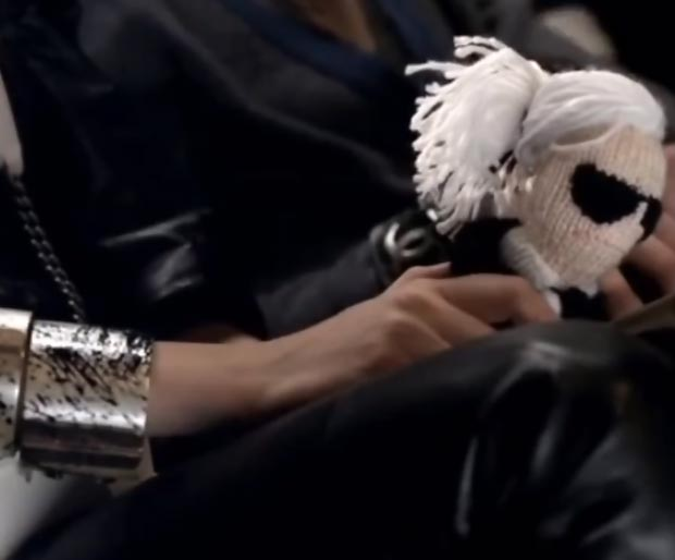 Karl Lagerfeld stuffed knitted doll