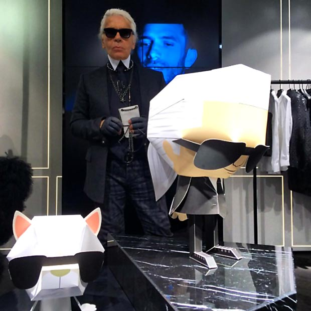 Karl Lagerfeld with his paper toys by Shin Tanaka