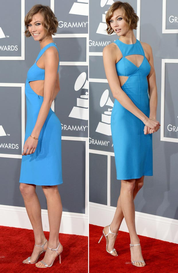 Karlie Kloss 2013 Grammy Awards fashion blue cutout dress
