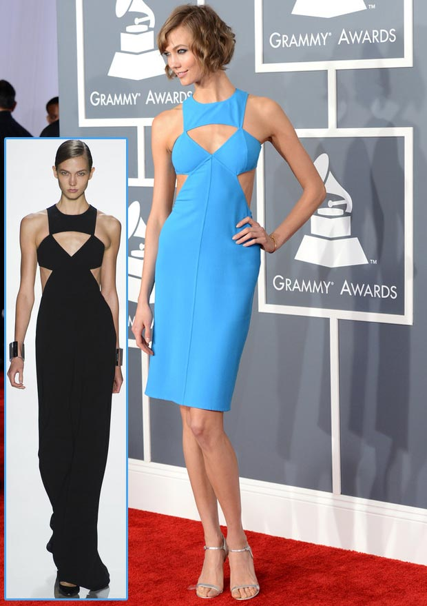 Karlie Kloss 2013 Grammy Awards Michael Kors blue cutout dress