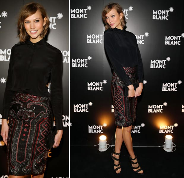 Karlie Kloss black outfit Monblanc opening