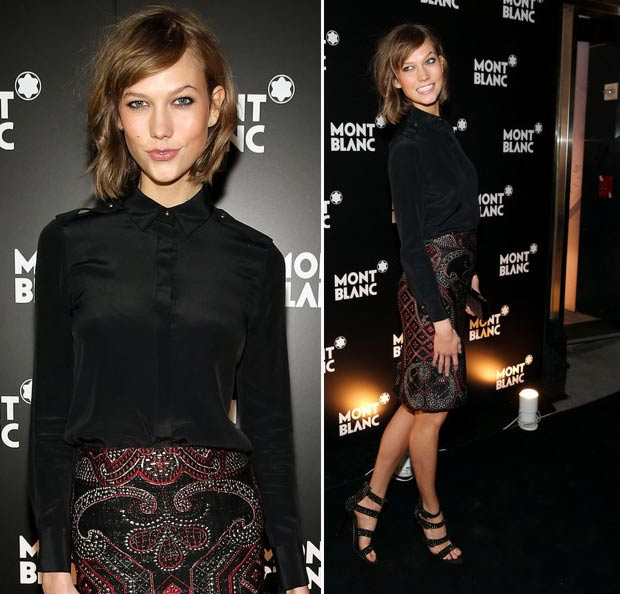 Karlie Kloss pencil skirt black shirt MontBlanc event