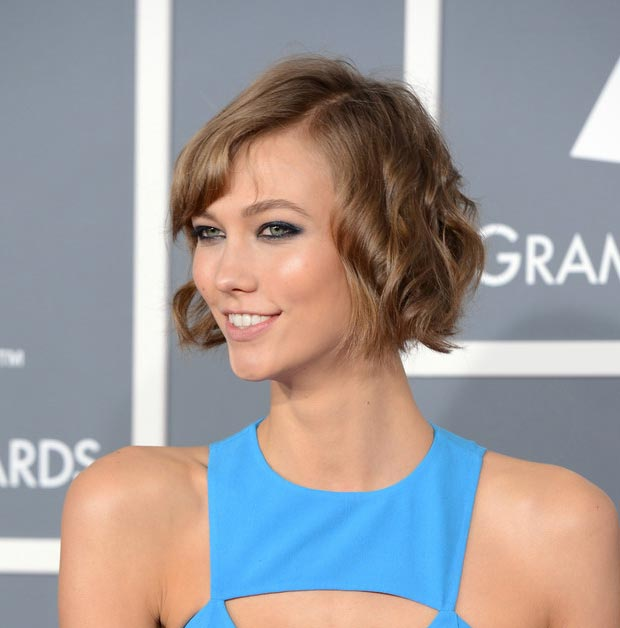 2013 Grammy Awards Fashion Karlie Kloss In Michael Kors Blue Cutout Dress