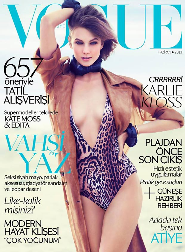 Karlie Kloss Vogue Turkey swimsuit cover