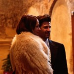 Karmen Pedaru married in white fur coat