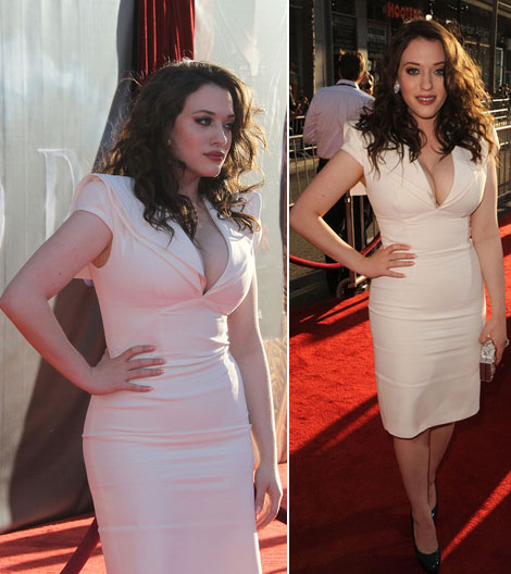 Kat Dennings white tight dress cleavage
