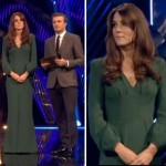 Kate Middleton pregnant in green McQueen dress