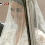 Kate Middleton white wedding dress and veil Alexander McQueen