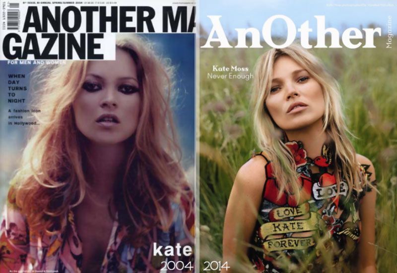 Kate Moss Another cover 2004 2014 comparison