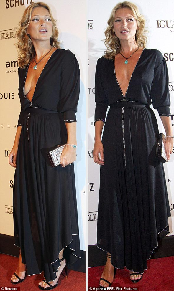 Kate Moss black dress plunging neckline curly hair amFAR