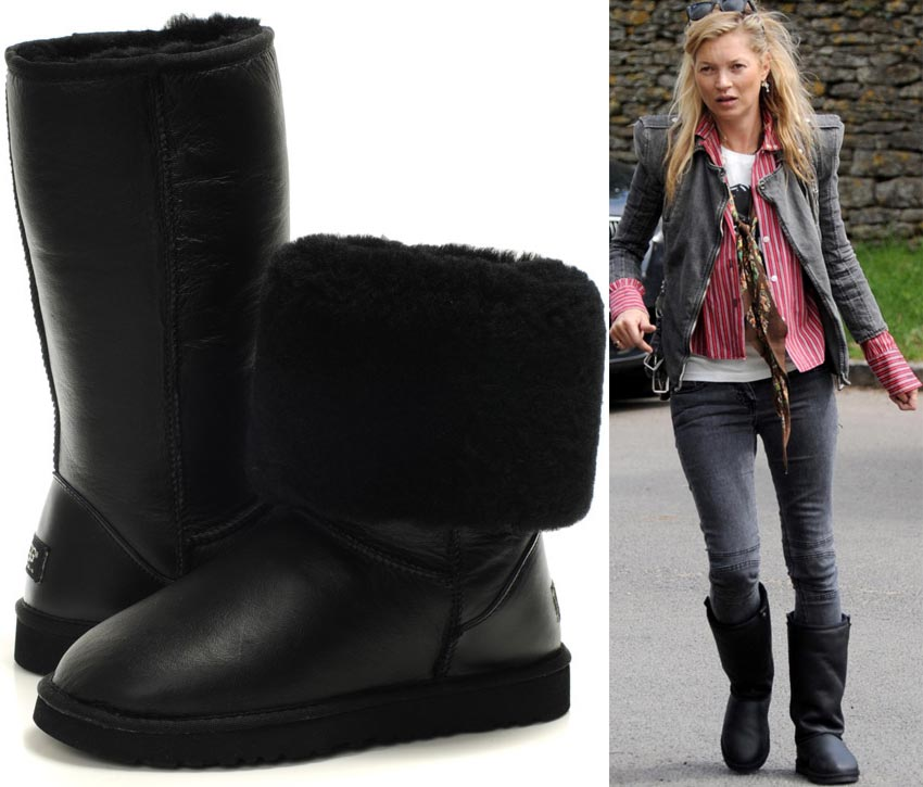 Kate Moss boots black leather tall Uggs