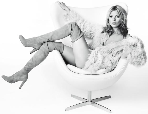 Kate Moss boots Stuart Weitzman ad campaign