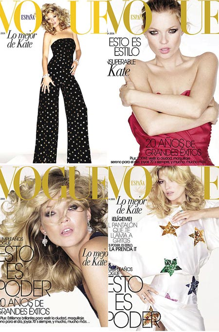 Kate Moss Covers Vogue España May 2008. Four Times.