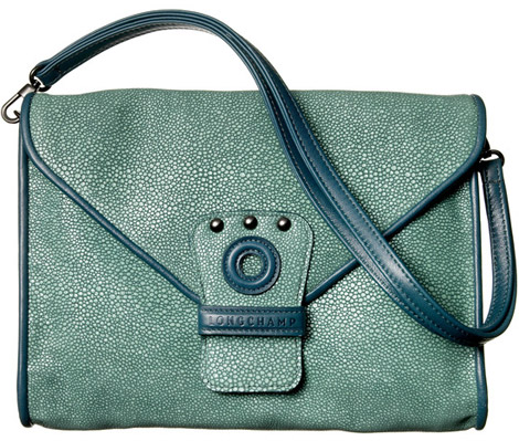 Kate Moss for Longchamp green clutch