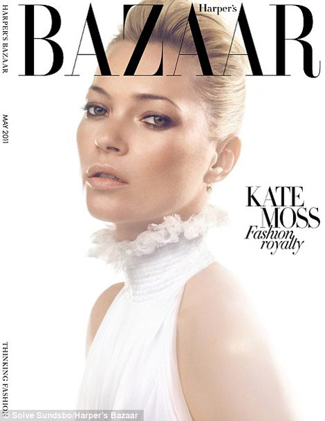 Kate Moss Harper s Bazaar McQueen Tribute May 2011 cover