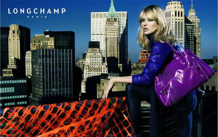 Kate Moss Longchamp advertising purple handbag