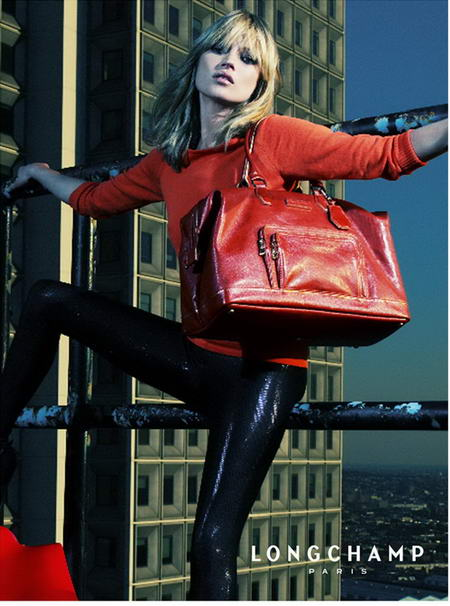 Kate Moss Longchamp advertising red handbag
