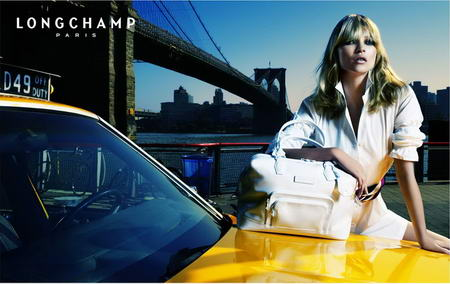Kate Moss Longchamp advertising white handbag