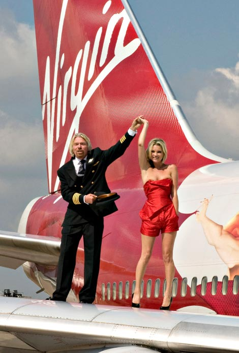 Kate Moss Richard Branson Virgin Atlantic Anniversary