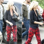 Kate Moss wearing skinny tartan pants