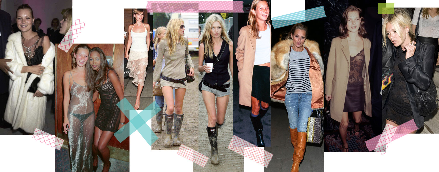 Kate Moss style wardrobe throughout the years