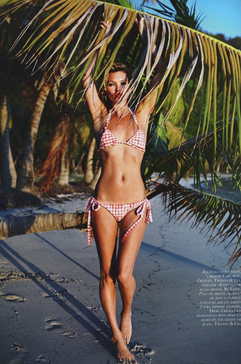 Kate Moss swimsuit Vogue Paris June July 2010