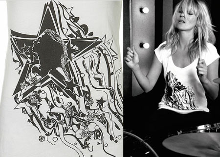 Kate Moss Topshop Starlight T shirt