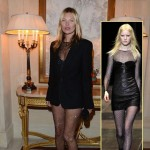 Kate Moss wears Saint Laurent Fall13 sheer catsuit