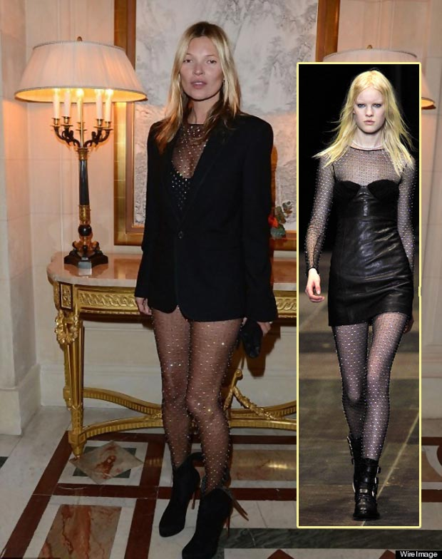 Kate Moss Wears Saint Laurent See Through Catsuit, Carine Roitfeld Ball