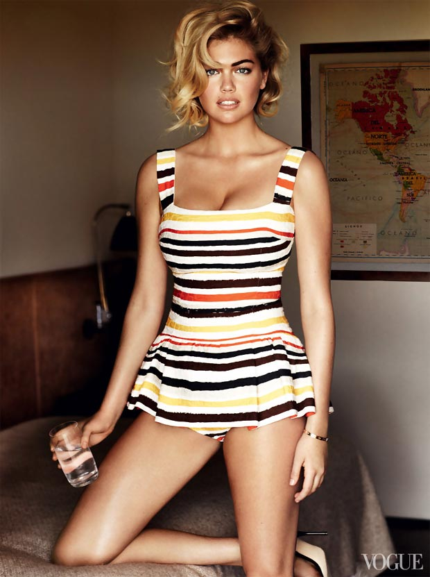 Kate Upton Vogue US June 2013 striped swimsuit